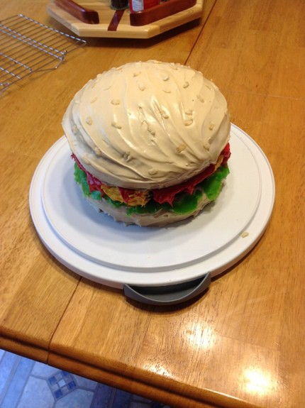 Gluten-Free Cheeseburger Birthday Cake at Gluten Free Easily