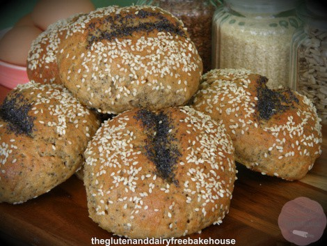 Gluten-Free Wholemeal Mixed Seed Rolls from The Gluten and Dairy Free Bakehouse. One of the Top 40 Best Gluten-Free Biscuit Recipes and Gluten-Free Roll Recipes. [featured on GlutenFreeEasily.com]
