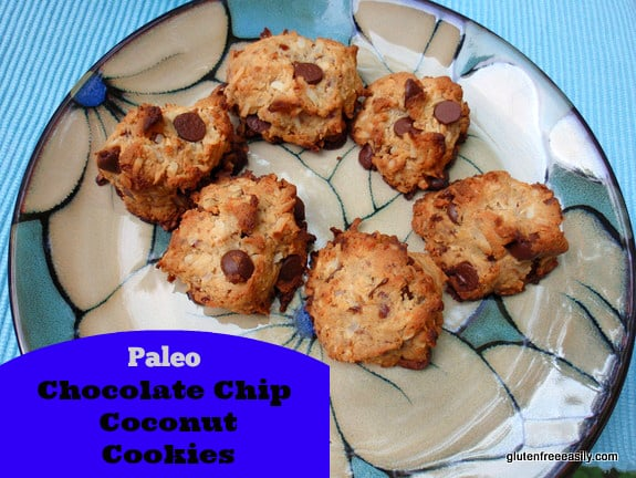Paleo Chocolate Chip Coconut Cookies with egg-free, vegan options. You're going to love adding this recipe to your chocolate chip cookie arsenal! [from GlutenFreeEasily.com] (photo)