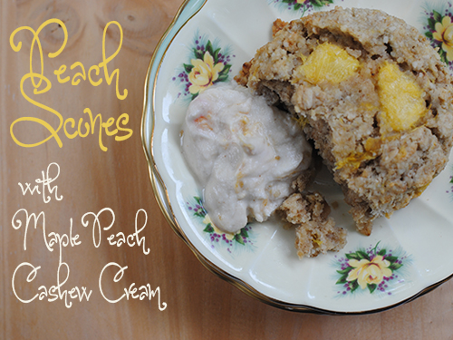 Peach Scones with Maple-Peach Cashew Cream from She Let Them Eat Cake