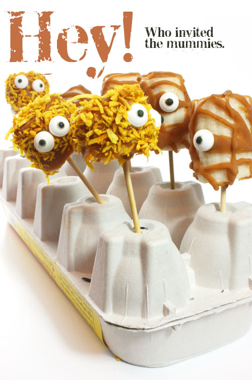 Banana Mummies from Flo and Grace. One of 20 Last Minute Gluten-Free Halloween Treats [featured on GlutenFreeEasily.com] (photo)