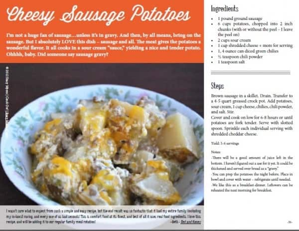 Crock On Cookbook, gluten-free slow cooker recipe, slow-cooked cheesy sausage potatoes, crockpot recipe, Stacy Myers, Crock On, Harvest Your Health Bundle