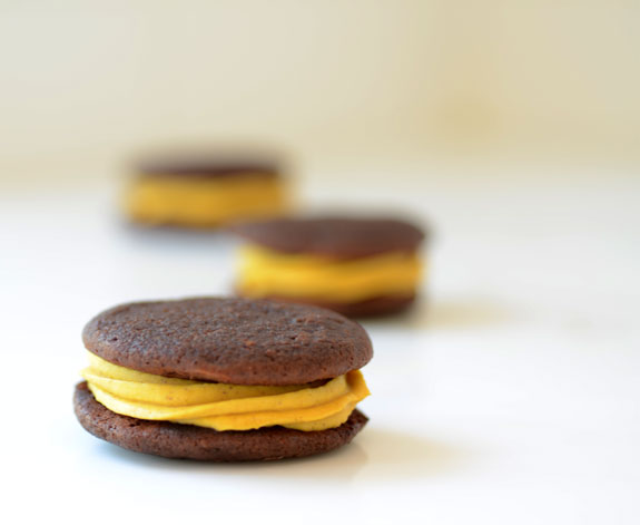 Chocolate Whoopie Pies with Pumpkin Filling from Elana's Kitchen. One of 20 Last Minute Gluten-Free Halloween Treats [featured on GlutenFreeEasily.com] (photo)