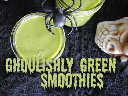 Ghoulishly Green Smoothies from She Let Them Eat Cake. One of 20 Last Minute Gluten-Free Halloween Treats [featured on GlutenFreeEasily.com] (photo)
