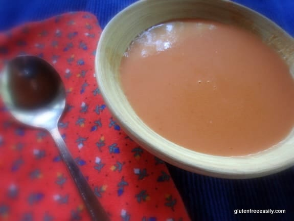 Almost Instant Cheater Tomato Soup photo. Two ingredients and ready in 2 minutes. From Gluten Free Easily.