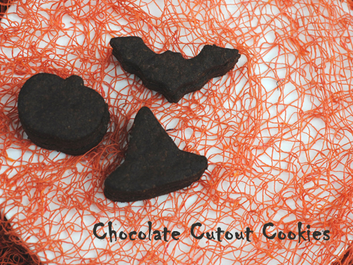 Spooktacular Chocolate Cut-out Cookies from She Let Them Eat Cake. One of 20 Last Minute Gluten-Free Halloween Treats [featured on GlutenFreeEasily.com] (photo)