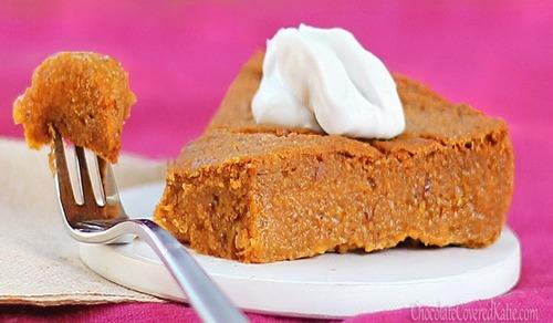 Crustless Pumpkin Pie from Chocolate-Covered Katie