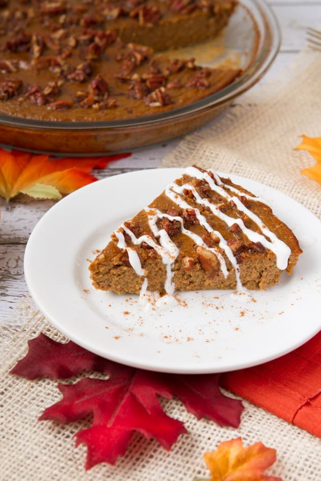 High Protein Gluten-Free Pumpkin Pie. One of 50 Gluten-Free Pumpkin Pies featured on GlutenFreeEasily.com]