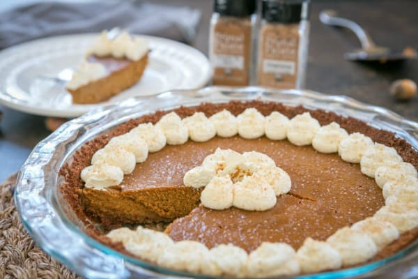 Classic Gluten-Free Paleo Pumpkin Pie with a Gingersnap Crust from Primal Palate. One of 50 gluten-free pumpkin pie recipes on gfe! [from GlutenFreeEasily.com]