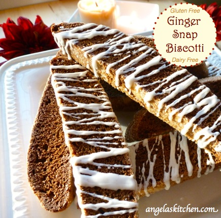 best gluten-free desserts, gluten-free biscotti, gingerbread recipes, gluten free, dairy free, cookies, ginger snap, biscotti, treats, desserts, holidays, Angela's Kitchen