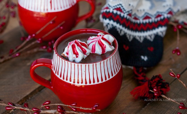 Hot Chocolate with Peppermint Marshmallow Cookies from Against All Grain