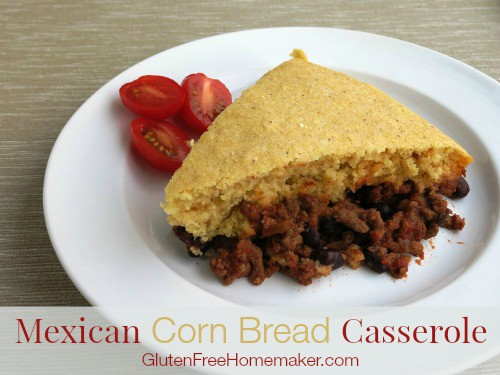 Gluten-Free Mexican Casserole with Cornbread. Recipe featured on gfe. [GlutenFreeEasily.com]