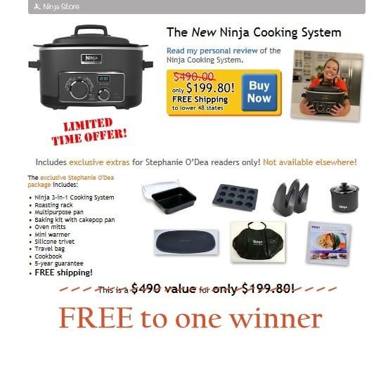 Ninja 3 In 1 Cooking System Deluxe Package Plus 365 Slow