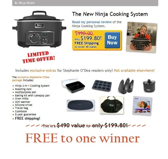 Ninja 3-in-1 Cooking System, slow cooker, giveaway