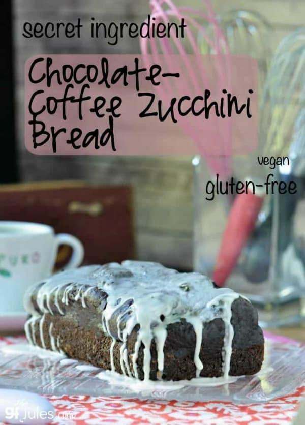 """Secret Ingredient"" Gluten-Free Chocolate Coffee Zucchini Bread is sure to make someone's day! From GF Jules. [featured on GlutenFreeEasily.com]"