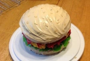 gluten-free birthday cake, Super Bowl, gluten-free cheeseburger cake, dairy free, dessert, recipe, Cherie Cormier, Our Gluten-Free Life