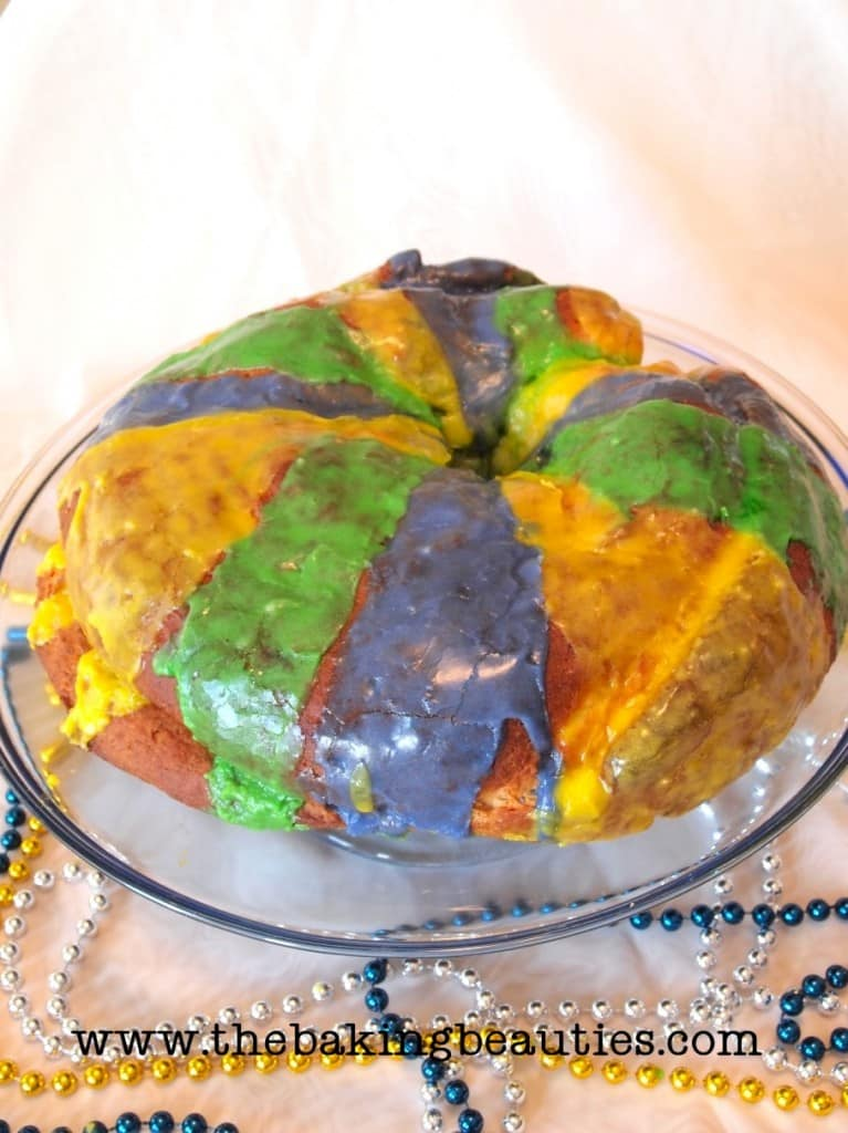 The colored frosting adds royal Mardi Gras pizzazz to King Cake! Gluten-Free King Cake from Faithfully Gluten Free