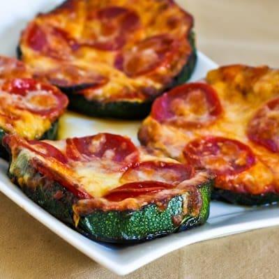 Gluten-Free Grilled Zucchini Pizza Crust from Kalyn's Kitchen