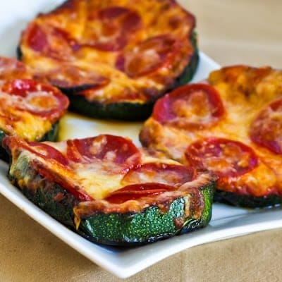 Gluten-Free Grilled Zucchini Pizza Crust from Kalyn's Kitchen