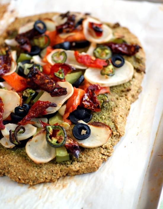 Grain-Free Bean-Free Oil-Free Vegan Pizza from Ricki Heller