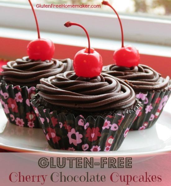 Gluten-Free Dairy-Free Cherry Chocolate Cupcakes from The Gluten-Free Homemaker