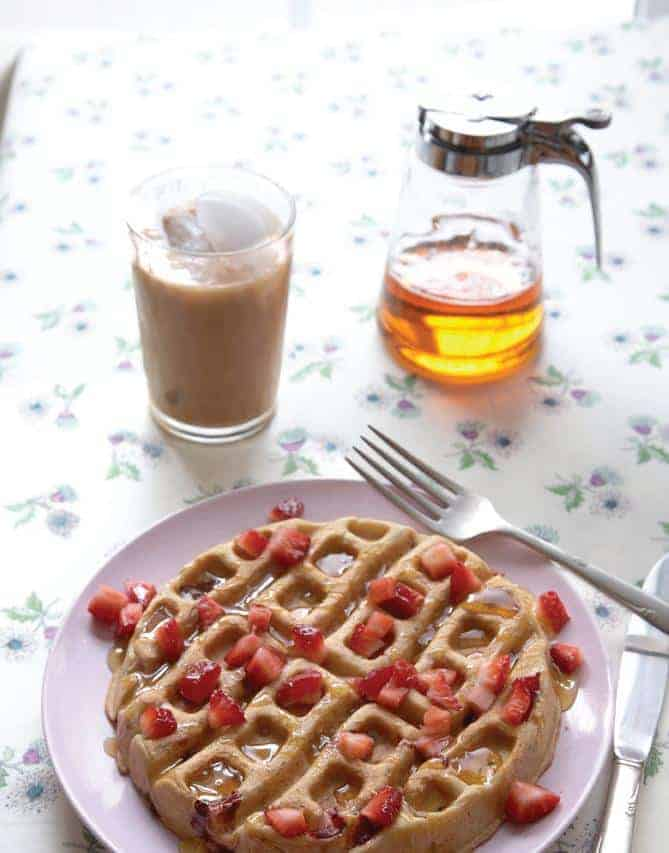 Gluten-Free Double Strawberry Waffles. One of many fabulous Gluten-Free Mother's Day Brunch Recipes!