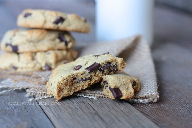 Paleo Chocolate Chip Cookies that taste like the real deal. That is, they don't taste like gluten-free chocolate chip cookies, they don't taste like grain-free chocolate chip cookies, they simply taste like real chocolate chip cookies! [featured on GlutenFreeEasily.com] (photo)