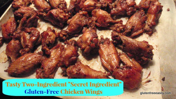 "Tasty Two-Ingredient ""Secret Ingredient"" Gluten-Free Chicken Wings. One of 17 gluten-free holiday appetizers that will make your New Year celebration! [from GlutenFreeEasily.com] (photo)"