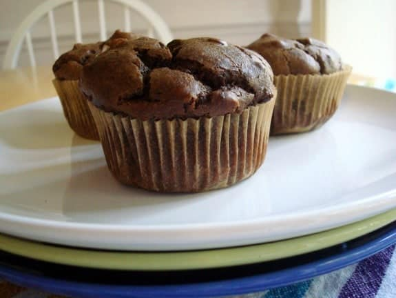 Gluten-Free Sneaky Chocolate Peanut Butter Muffins from ChaCha's Gluten-Free Kitchen. Flourless wonders that offer a peanut butter cup flavor without being too sweet. [GlutenFreeEasily.com]
