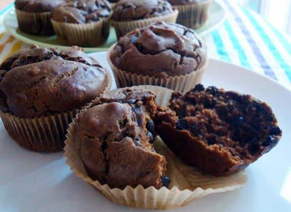 Gluten-Free Sneaky Chocolate Peanut Butter Muffins recipe for Muffin Madness. Flourless wonders that offer a peanut butter cup flavor without being too sweet. [GlutenFreeEasily.com]