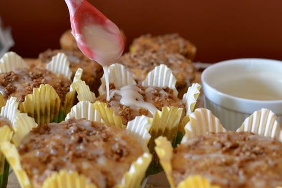 Coffee Cake Muffin Applying Glaze Celiac in the City