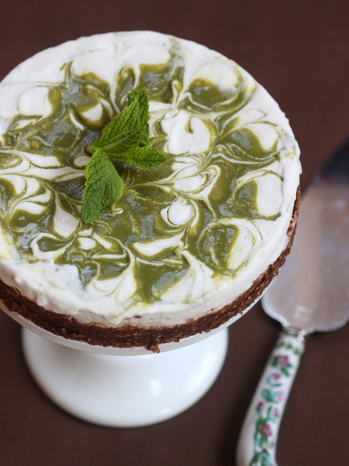 Whipped Coconut Cream Freezer Pie with a Mint Swirl and a Chocolate Coconut Crust from The Spunky Coconut