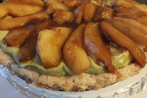 Key Lime and Caramel Pear Torte with Macaroon Crust