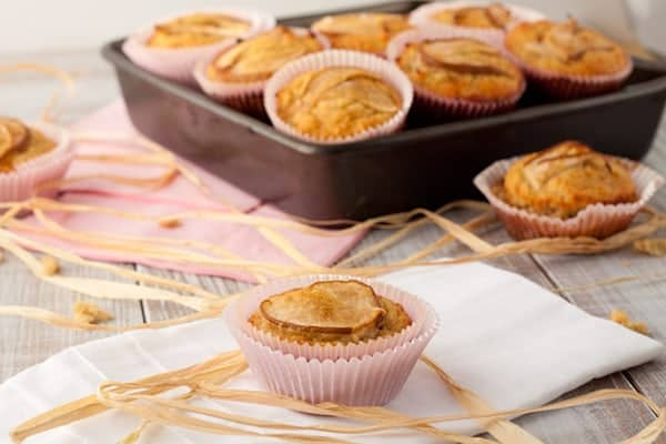 "Gluten-Free Vanilla Pear Muffins from Healthful Pursuit. ""These Vanilla Pear Muffins are 150-calorie no-grain muffins made with coconut flour, lemon zest, vanilla and fresh pears. Perfect for traveling, lunches, or a sweet afternoon snack."" [featured on GlutenFreeEasily.com] (photo)"