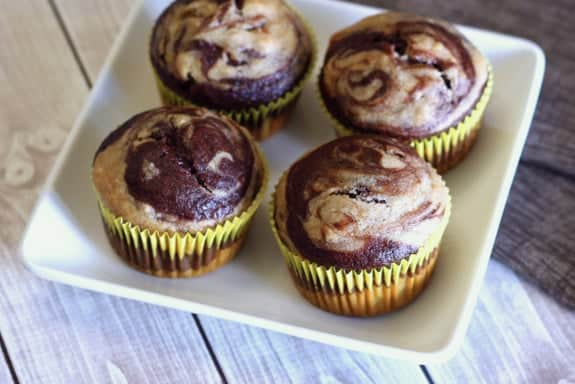 Chocolate Banana Swirl Muffins. Gluten free, dairy free, egg free, and easily vegan, but lacking for nothing! You'll be so happy whenever you have two ripe bananas and you can make this recipe! (photo)