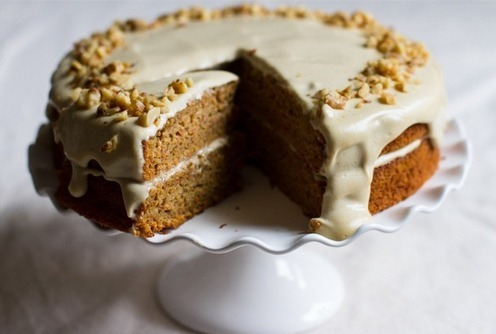 Gluten-Free Carrot Cake with Orange Maple Cashew Cream Frosting from Edible Perspective