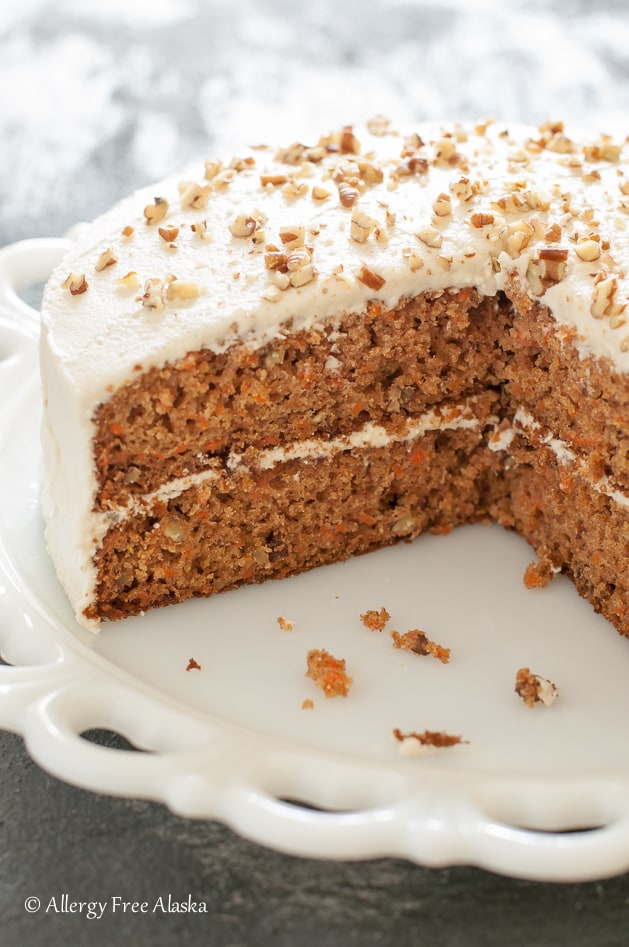 Your family and guests will be sneaking back for just another sliver of this Decadent Carrot Cake! From Allergy Free Alaska. Featured on Gluten Free Easily. (photo)