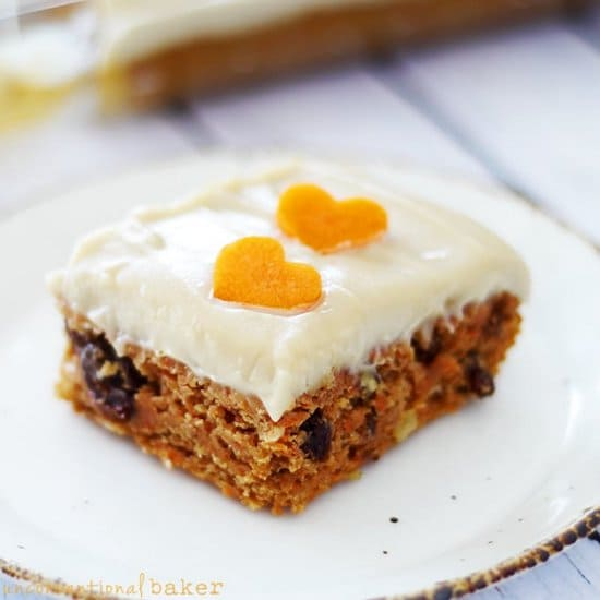 Healthified Carrot Cake Gluten free and vegan. From Unconventional Baker. (photo)