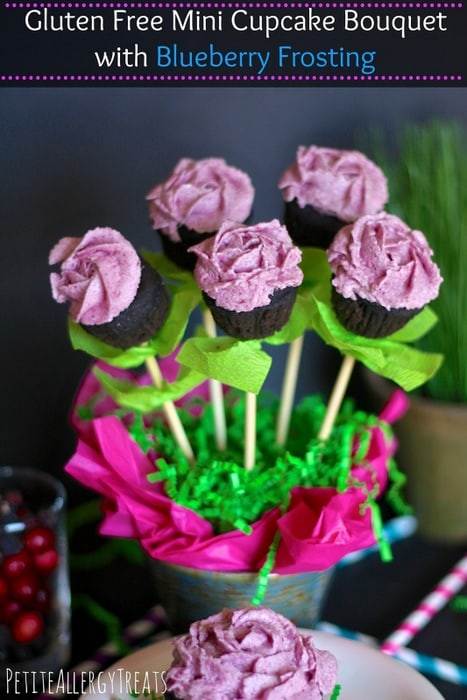 Mini Cupcake Bouquet with Blueberry Frosting Petite Allergy Treats