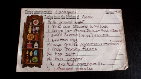Annie's Original Lasagne Recipe (it's been preserved by a plastic recipe sleeve which I removed for the photo)