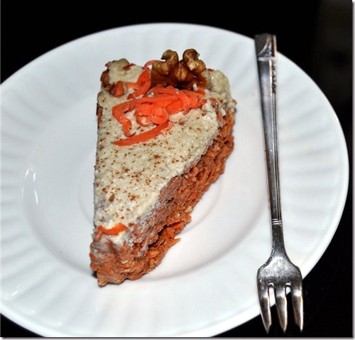 Sweet and Spicy Carrot Cake from Jennifer Cornbleet (Raw for Desserts) via Chocolate-Covered Katie