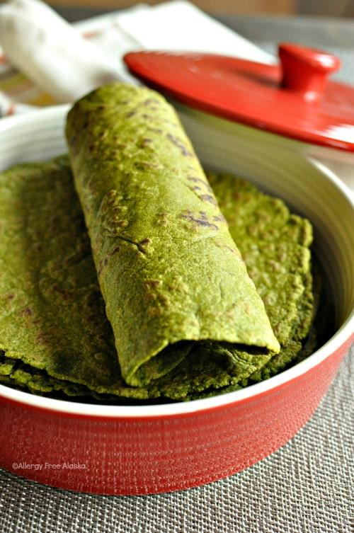 Gluten-Free and Vegan Spinach Tortillas from Allergy Free Alaska