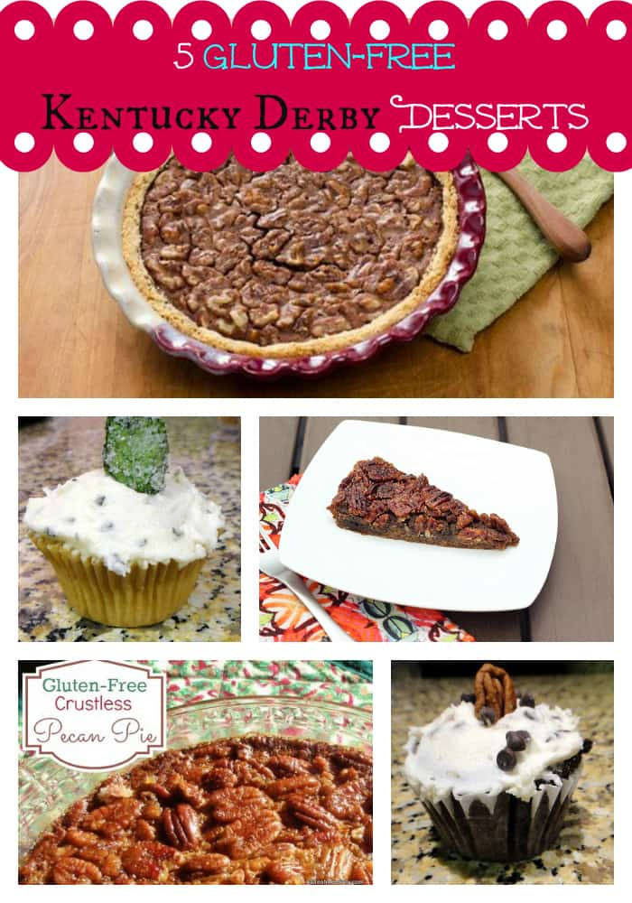 I can't imagine a better way to celebrate the Kentucky Derby than enjoying gluten-free Kentucky Derby Pies! (These pies are winners!) Except perhaps enjoying some equally appropriate and delicious cupcakes! [featured on GlutenFreeEasily.com]