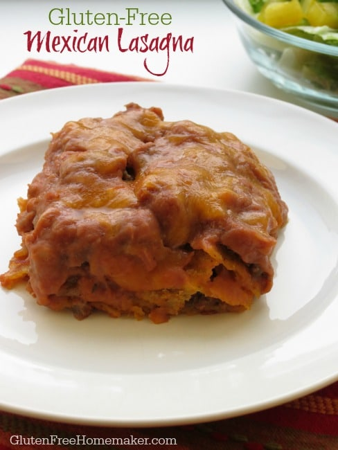 You're going to love how easy it is to make this delicious Mexican Lasagna! Ideal for Cinco de Mayo. Gluten free.