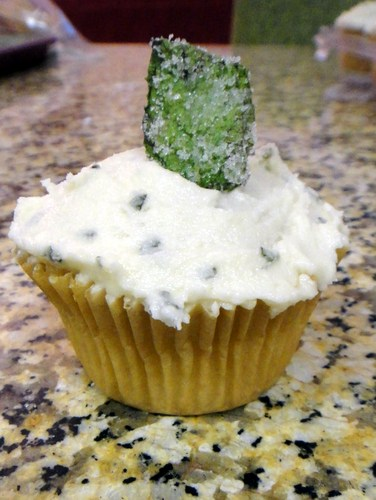 Mint Julep Cupcakes with Sugared Mint Leaves from In Johnna's Kitchen [featured on AllGlutenFreeDesserts.com]