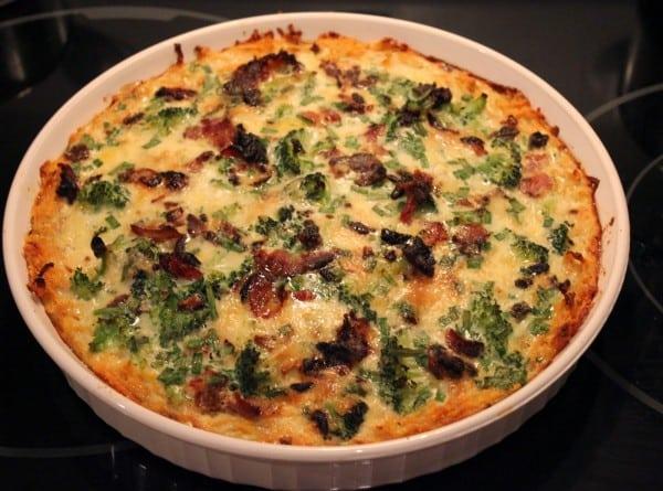 Paleo Bacon Broccoli Quiche with Sweet Potato Crust