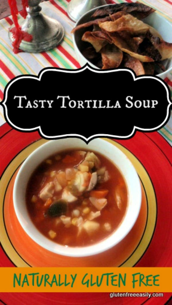 Quick and Easy Tortilla Soup --I can make this tasty recipe in a matter of minutes and it's so good! Equally easy to make the chicken version or a vegetarian/vegan version.  [from GlutenFreeEasily.com]