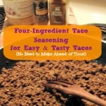 Homemade Four-Ingredient Gluten-Free Taco Seasoning Recipe. No need to make ahead of time. You make it on the spot for easy and tasty tacos. [from GlutenFreeEasily.com]