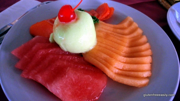 Fruit Salad with Lime Sorbet--We Enjoyed This Combination Often Casa del Mar Cozumel