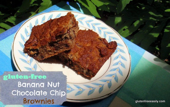 Gluten-Free Banana Nut Chocolate Chip Brownies. These gluten-free Banana Nut Chocolate Chip Brownies are grain-free with a light banana flavor, terrific texture, and a luscious chocolate factor. [from GlutenFreeEasily.com]